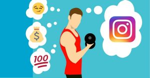 weight lifter thinking about instagram